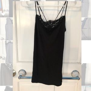 Lace detailed cross-back strappy cami